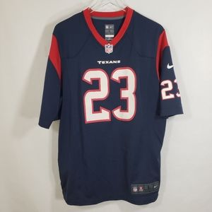 NFL On Field Blue Texans Foster Jersey Sz Large